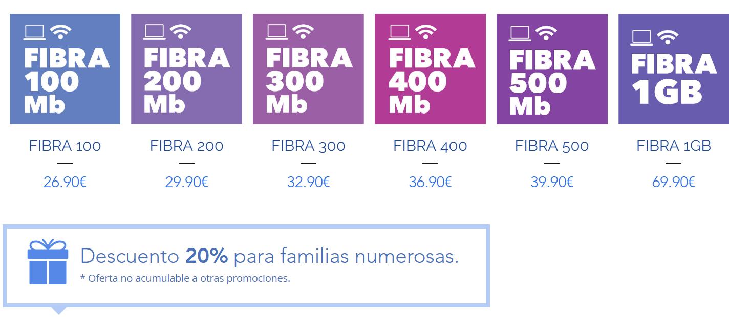 Tarifas fibra Vallecas Telecom