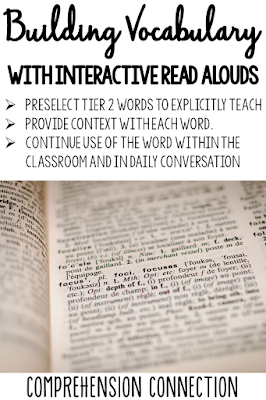 Building vocabulary is one big benefit to using interactive read alouds. Teachers can select tier 2 words, introduce them with the text and extend them into follow up activities.