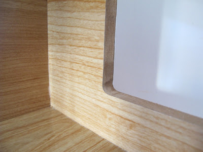 Close up view of the window edges of the modern Lori Loft to Love dolls' house.
