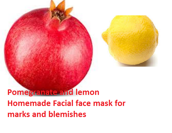 Pomegranate and lemon Homemade Facial face mask for marks and blemishes
