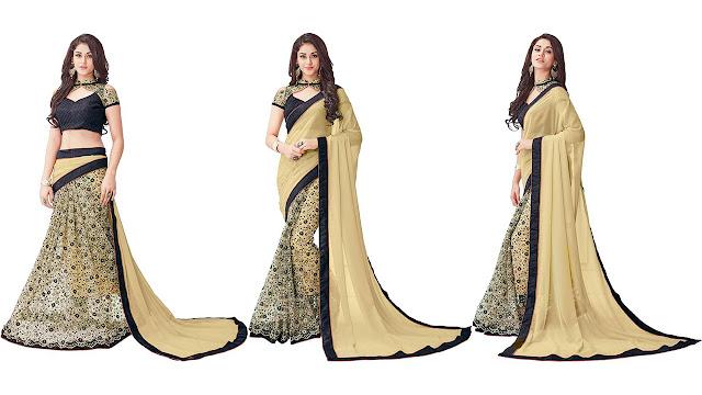 FASHION CARE Embroidered Fashion Net Saree  (Beige)