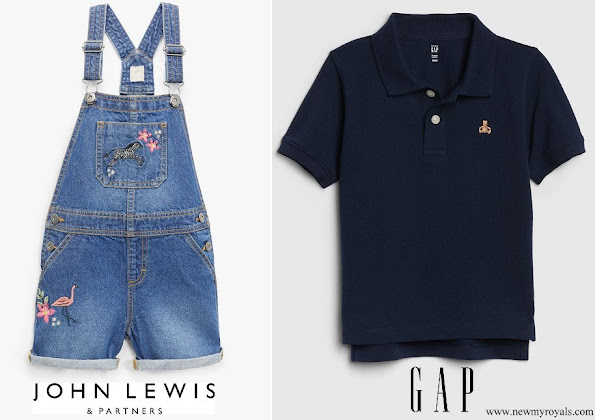 Princess Charlotte wore a John Lewis and Partners embroidered dungaree shorts, Prince Louis wore a Gap polo shirt