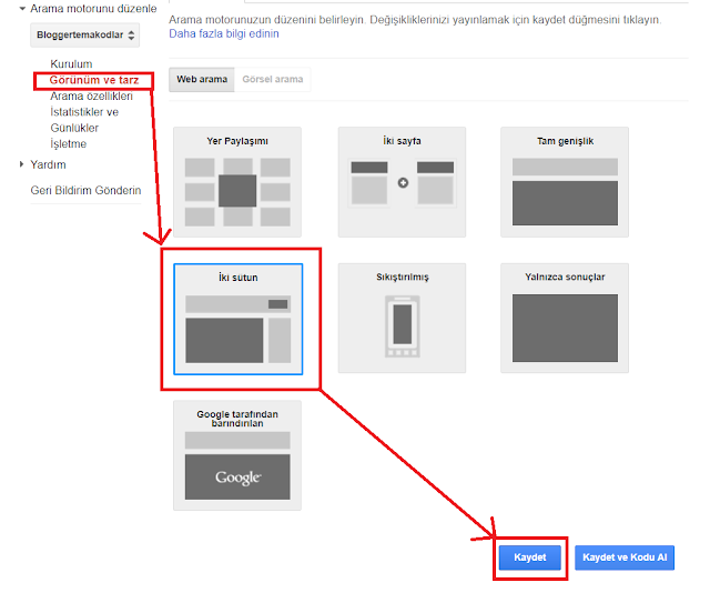 google özel arama kutusu görünüm ayarları