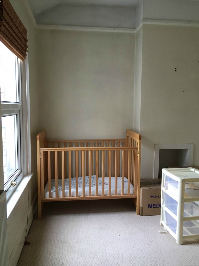 Squidge's nursery with the cot