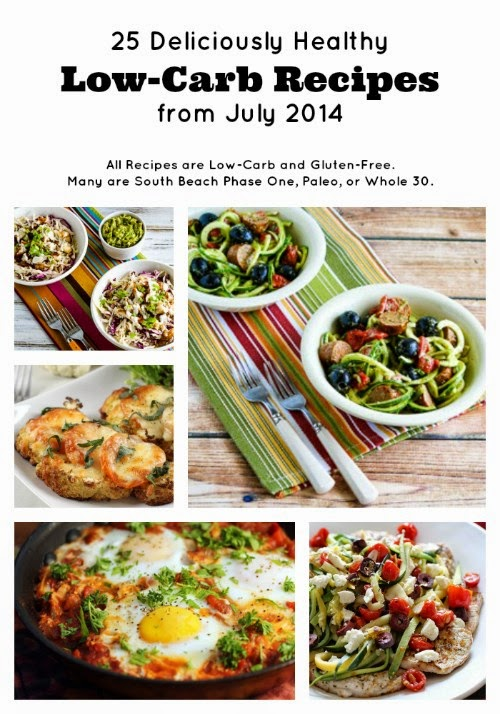 25 Deliciously Healthy Low-Carb Recipes from July 2014 found on Kalyn's Kitchen.com