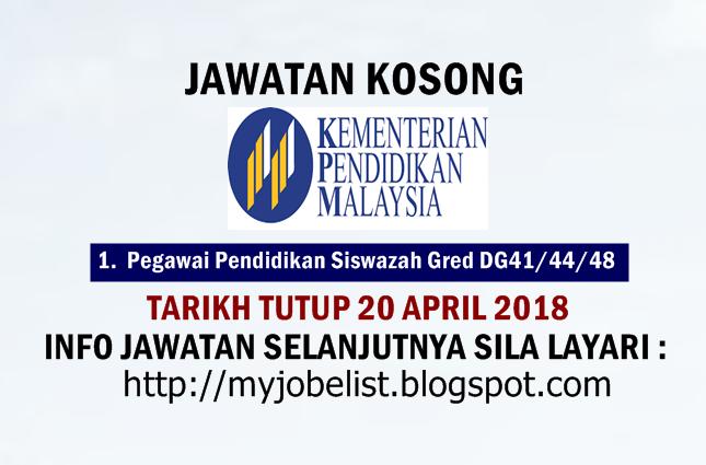 Jawatan Kosong di Kementerian Pendidikan Malaysia (MOE)  April 2018