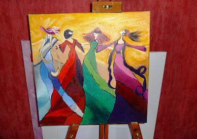 obrazek przedstawiający cztery kobiety o różnych kolorach długich sukien