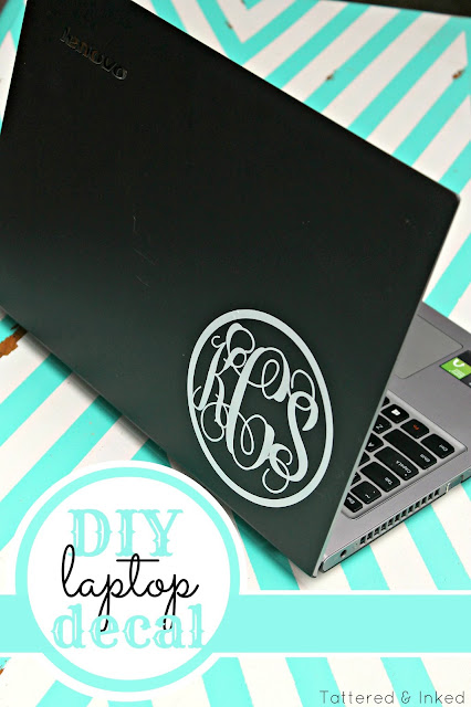 Monogram, laptop, decal, DIY, do it yourself, Silhouette tutorial