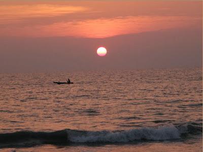 sunset at Varkala Beach, Kerala