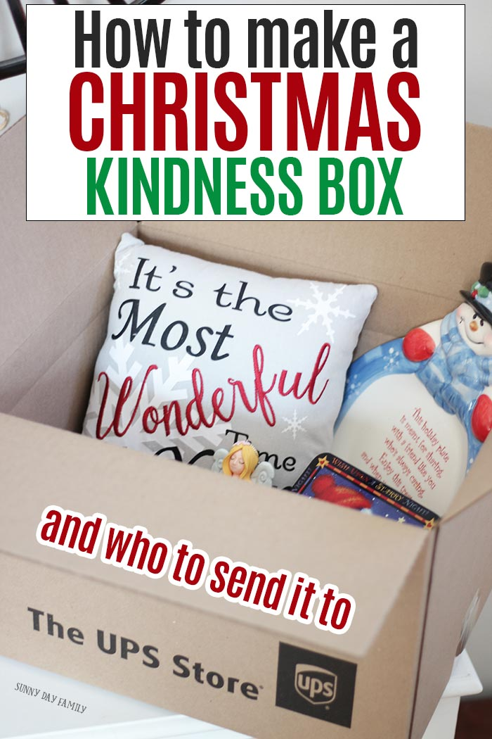 Send a Christmas Kindness Box and spread holiday cheer this season. The perfect surprise for people who need a little Christmas spirit this year! #ad #HolidaysMadeEasy #TheUPSStore #randomactsofkindness #ChristmasKindness #giftideas