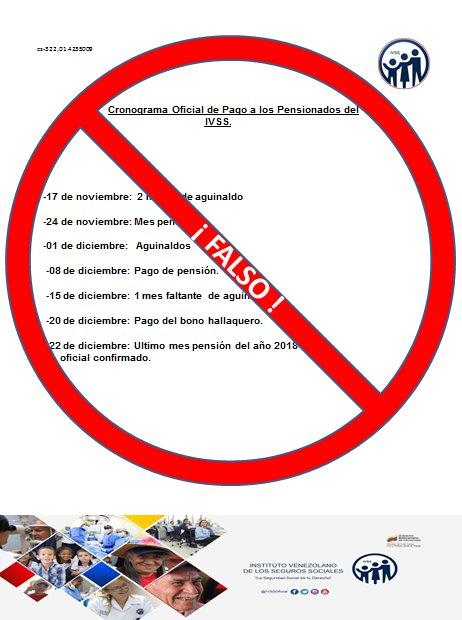 CRONOGRAMA OFICIAL DE PAGO A LOS PENSIONADOS DEL IVSS (ACTUALIZADO)