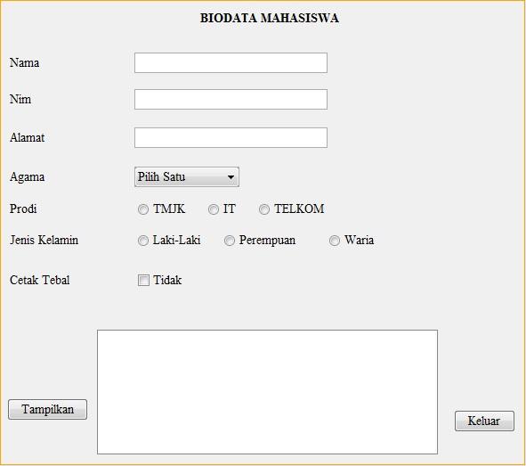 Biodata Mahasiswa Dasar Berbasis Jframe Belajar Multimedia
