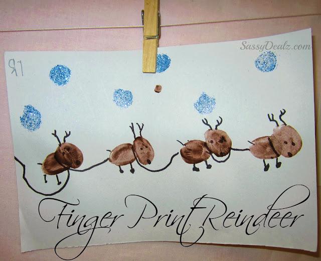 fingerprint reindeer craft for christmas