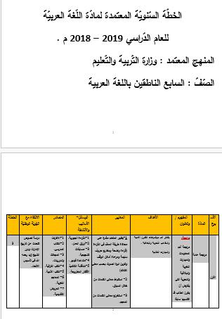 الخطة السنوية في اللغة العربية للصف السابع 2018-2019