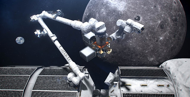 An artist's concept of Canada's smart robotic system located on the exterior of the Gateway, a small space station in orbit around the Moon. (Credit: CSA/NASA)