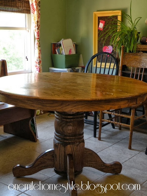 Round oak dining room table - before