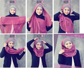 Cara memakai hijab segi empat model terbaru modis