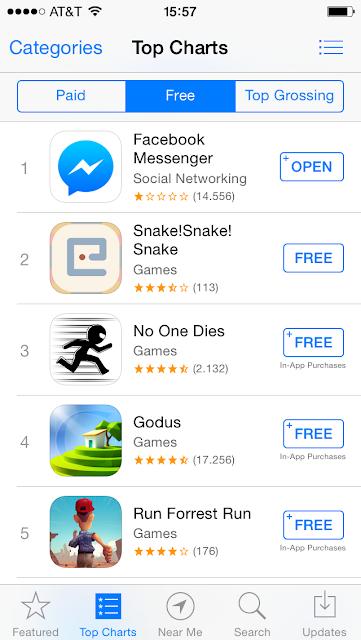 Facebook Messenger雖然成為下載第一的App,卻收到相當多問題回報。圖片來源:App Store