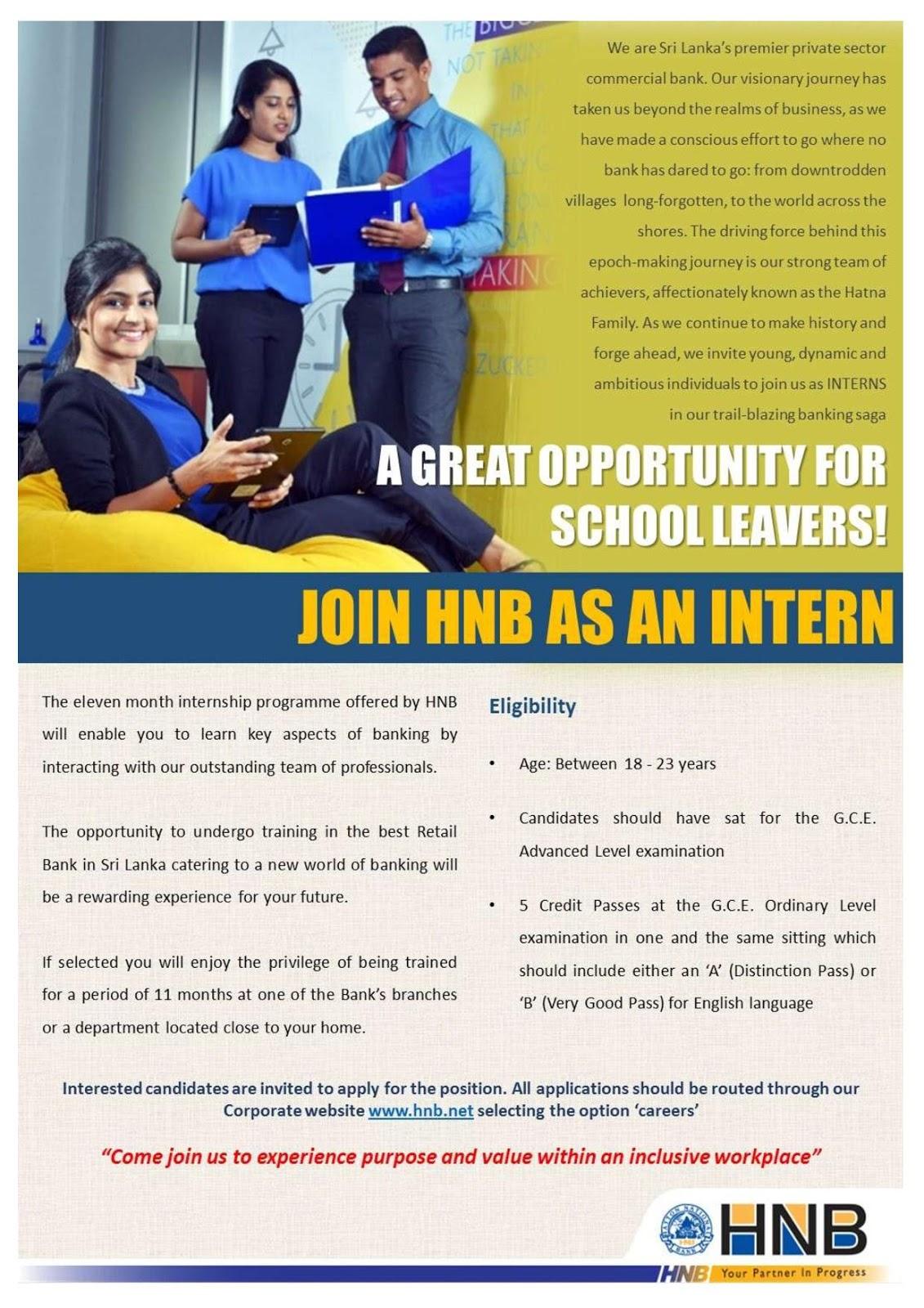 Internship For School Leavers  - Hatton National Bank PLC  Vacancy