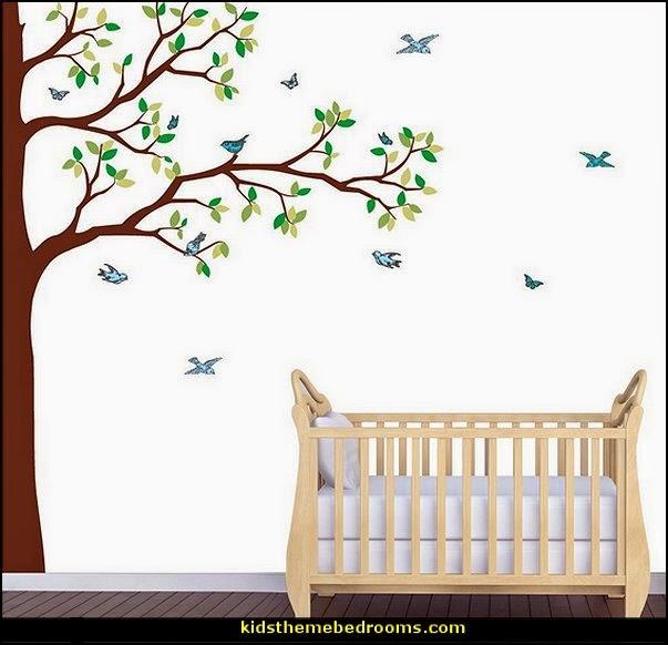 Tree Murals - tree wall decals - tree wall murals - Tree Wallpaper - tree wall stickers -  decorating with trees - tree wallpaper mural - Outdoor Bedroom decorating ideas - birch trees - forest trees wallpaper murals - tree props