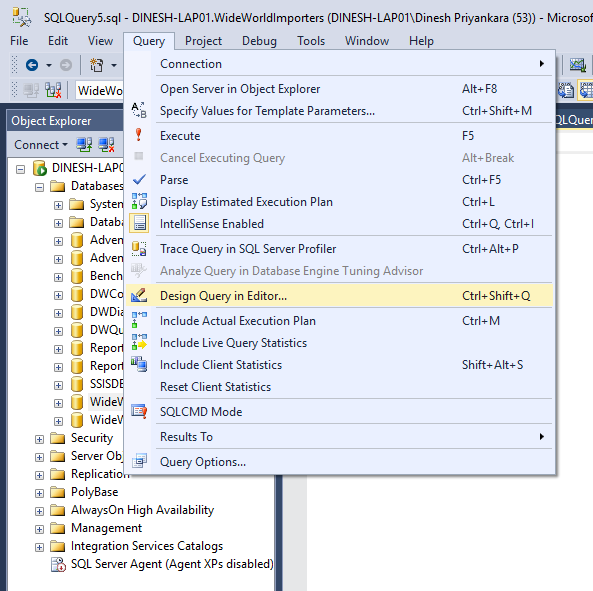 Dinesh 39 s blog being compiled sql server query for Query design window