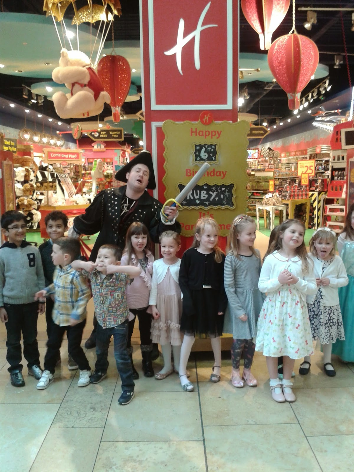 The party goers about to go in to the Pirate & Princesses Party at Hamleys Toystore Cardiff
