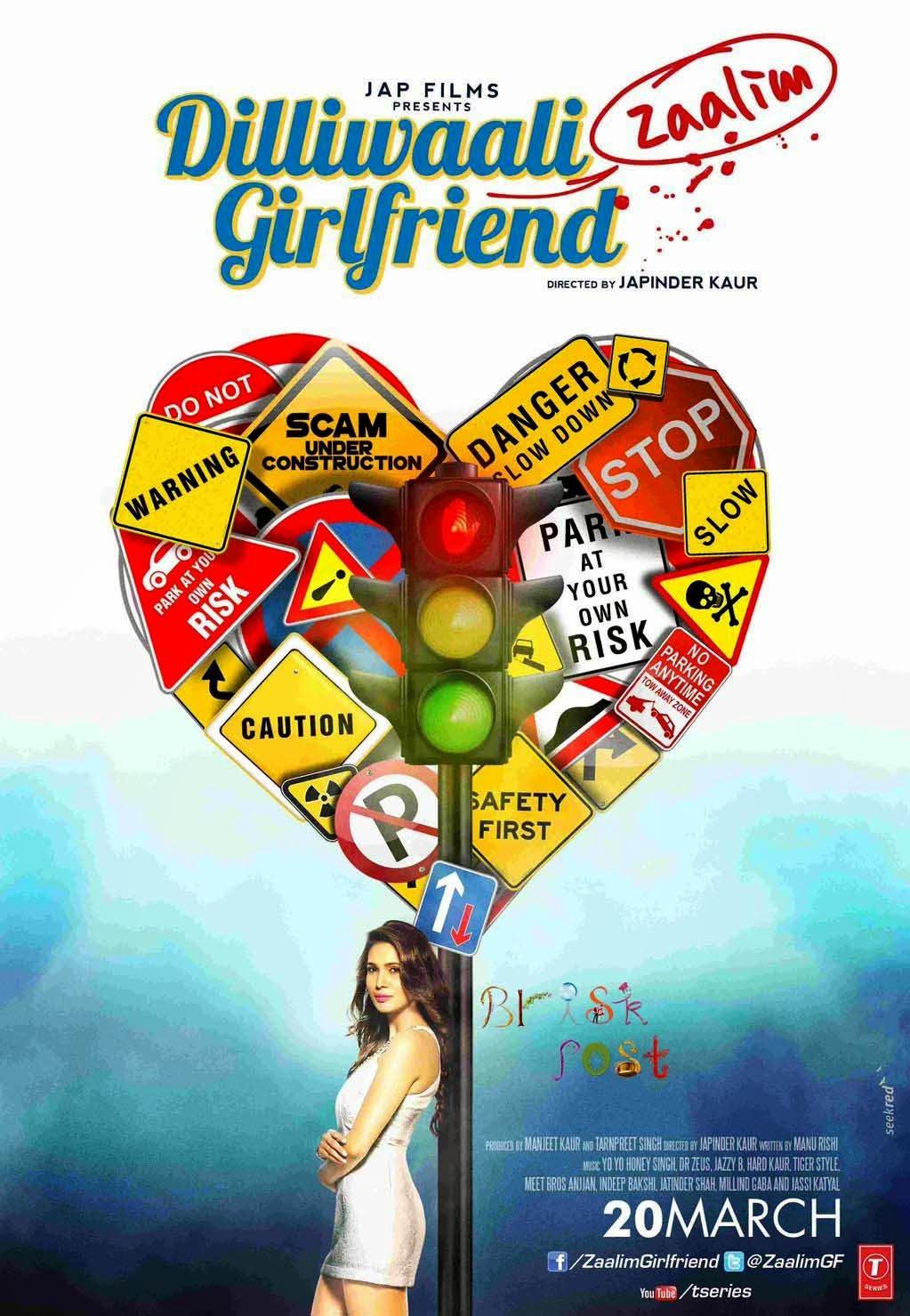 Prachi Mishra along a pole in poster of Bollywood movie Dilliwaali Zaalim Girlfriend