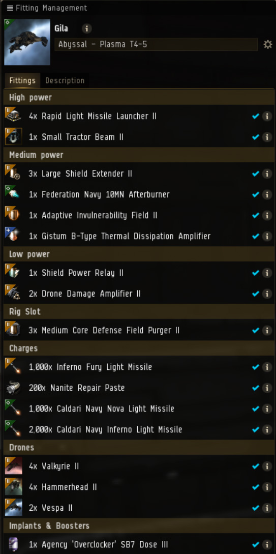 EVE Online Mission: Gila Tier 4 and lower firestorm Abyssal