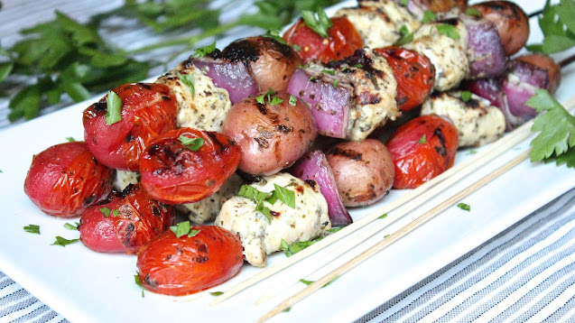 Grilled Chicken Pesto Potato Salad (Kabobs)