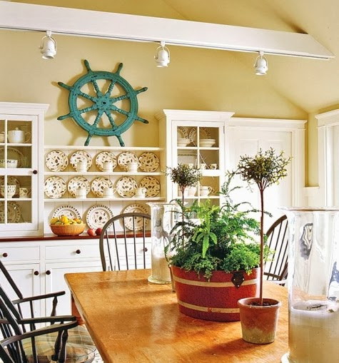 A Dining Room Enlivened By Turquoise Ship S Wheel Via Traditional Home To Check Out Another Painted Click Here