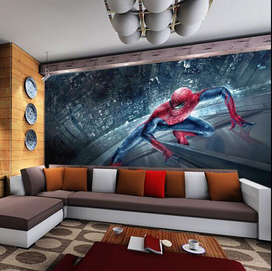 Wall murals for kids room Custom 3D wall mural wallpapers Spider Man movie photos wallpaper murals Bedroom kids Children