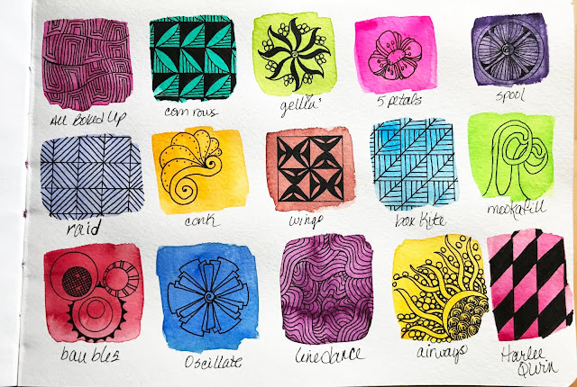 Alice hendon, easy to make watercolor tangle sampler for zentangle patterns
