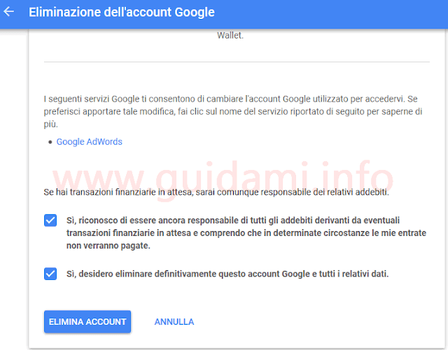 Eliminare intero account Google