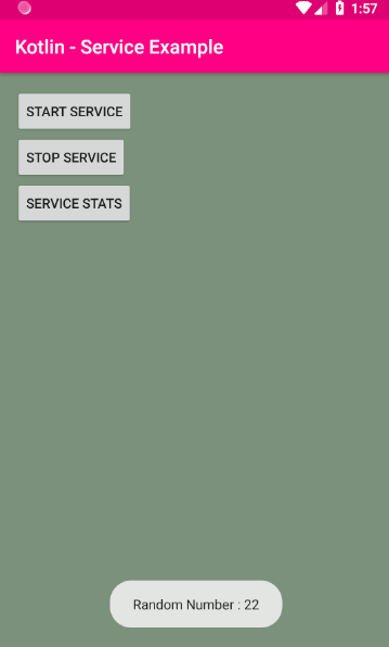 android kotlin - Service example