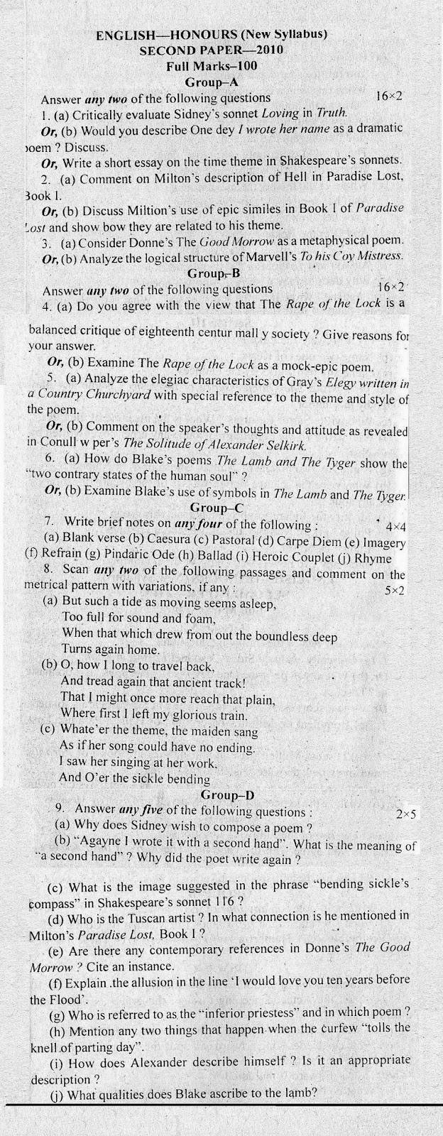 C.U. English Honours Question Paper 2010 [Second Paper