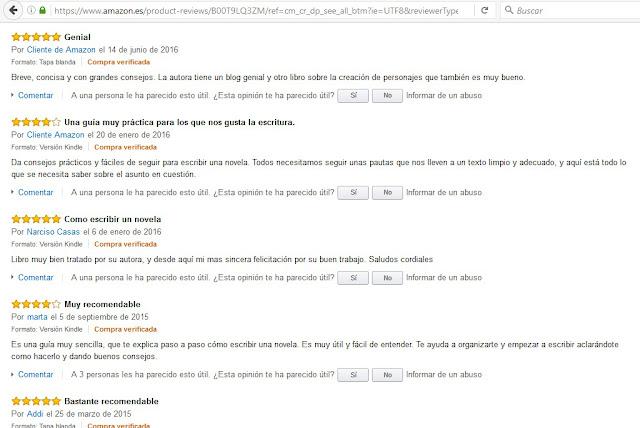 Más vendidos en amazon. Cómo escribir un novela. Elena Cardenal