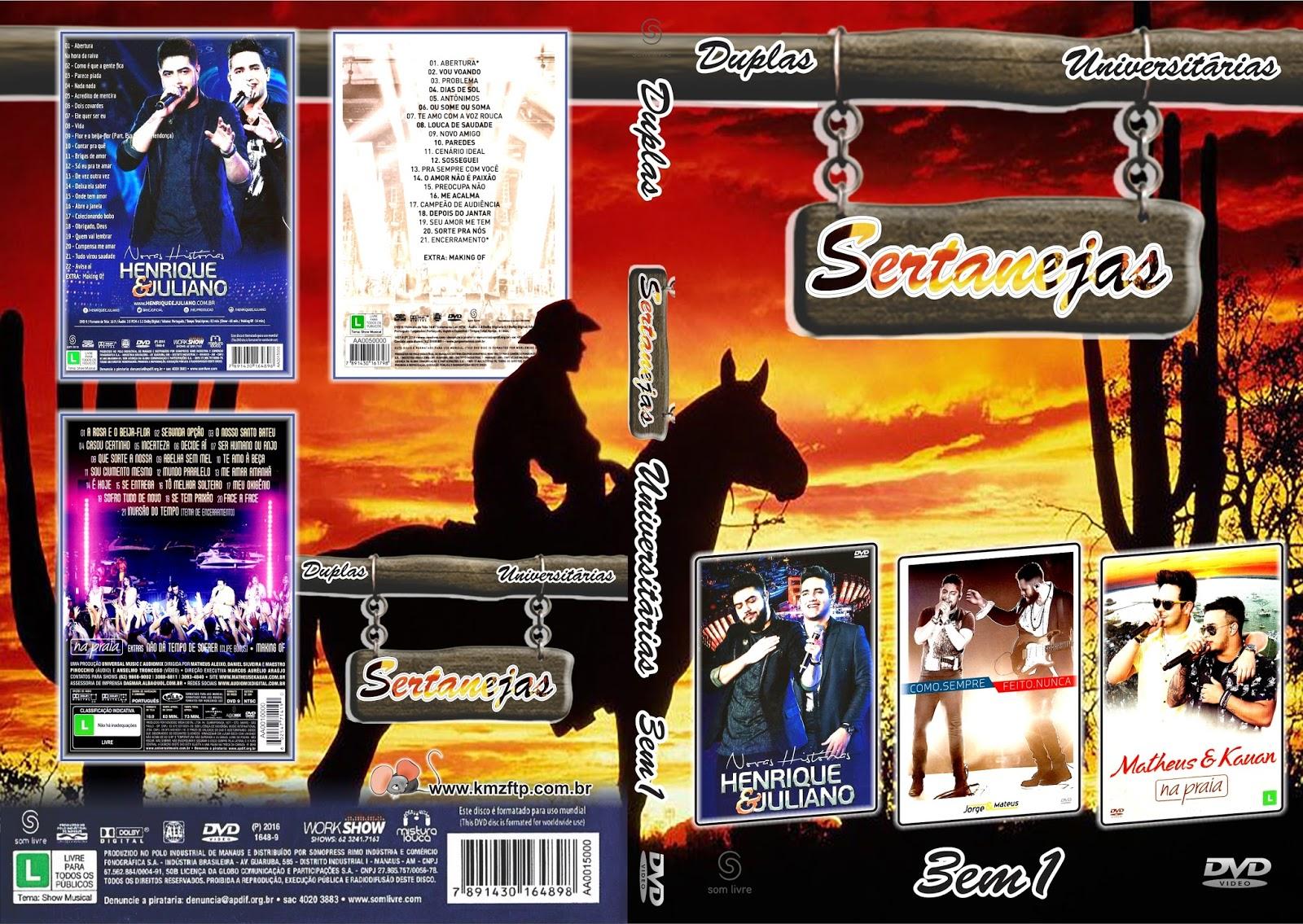 Duplas Sertanejas Universitário 3×1 DVD-R