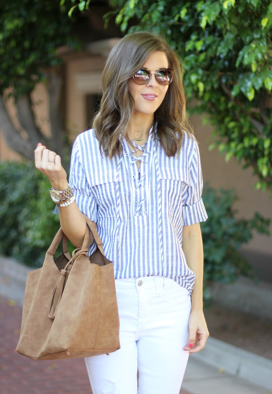 Striped Lace-Up Shirt