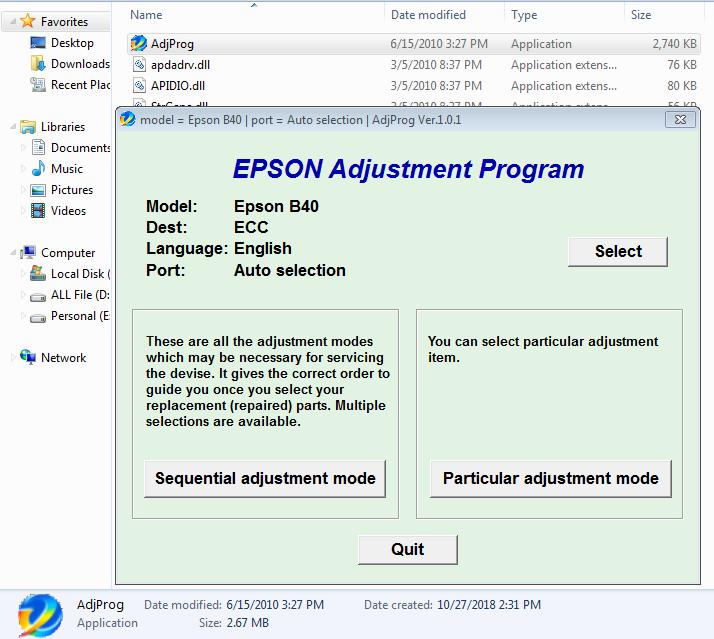 Epson B-40 Reset Utility