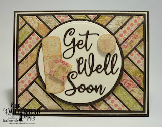 Custom Dies: Bandages, Get Well Soon, Circles, Pierced Circles, Quilted Background, Paper Collection: Blushing Rose