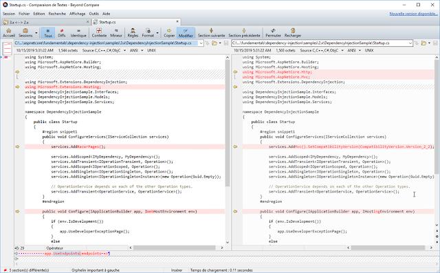 ASP.NET Core v2.x vs v3.x le fichier Startup.cs