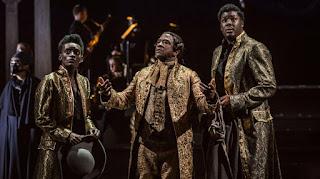 Sarah Amankwah, Hammed Animashaun, Lucian Msamati - Peter Schaffer's Amadeus - National Theatre - photo Marc Brenner