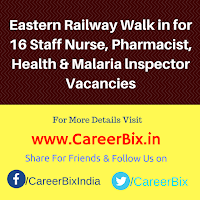 Eastern Railway Walk in for 16 Staff Nurse, Pharmacist, Health & Malaria lnspector Vacancies