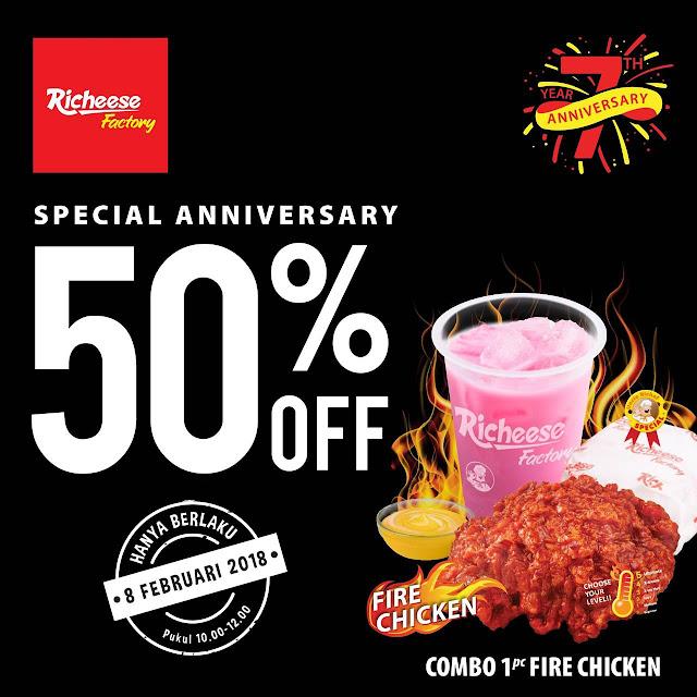 Promo RICHEESE FACTORY Terbaru DISKON 50% Combo Fire Chicken Periode 08 Februari 2018