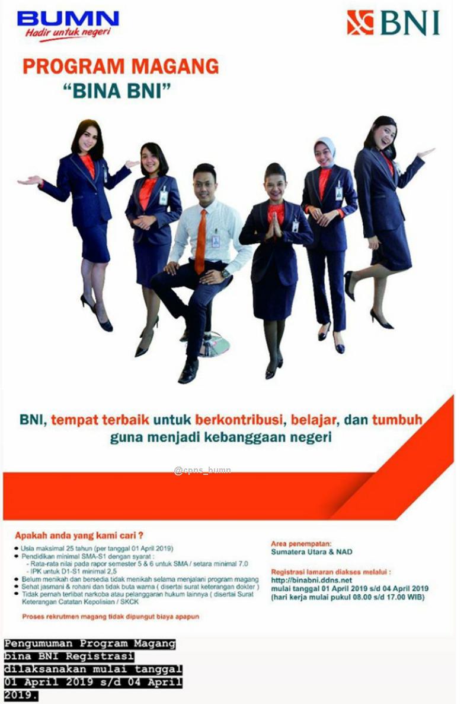 Lowongan Kerja Bank BNI (Persero) Minimal SMA D3 S1 Wilayah Sumatera Utara dan Aceh