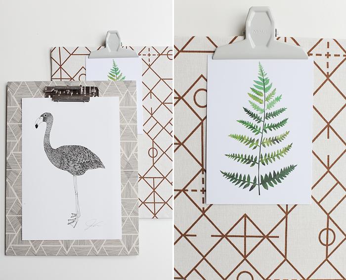 Klemmbrett DIY Stoff Farn Postkarte Flamingo