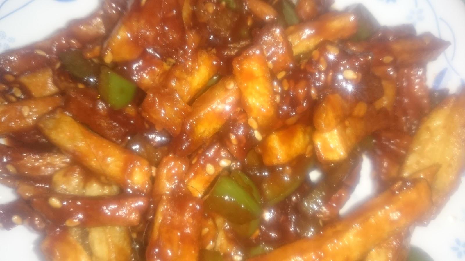 how to make honey chilli potato