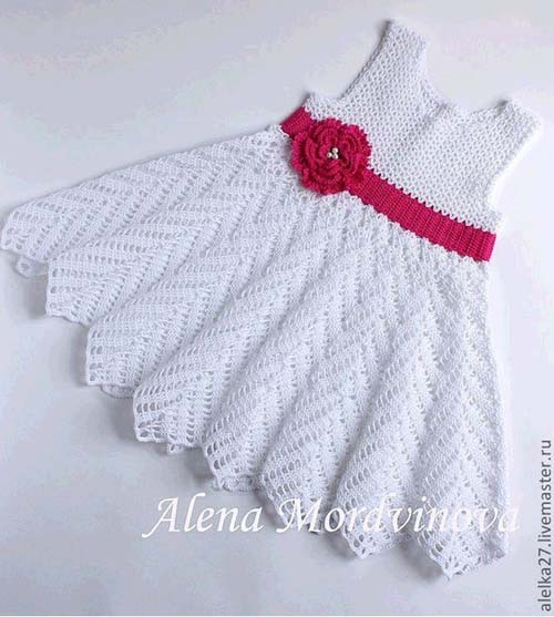 Vestido Para Niña Con Punto Zig Zag Crochet Y Dos Agujas
