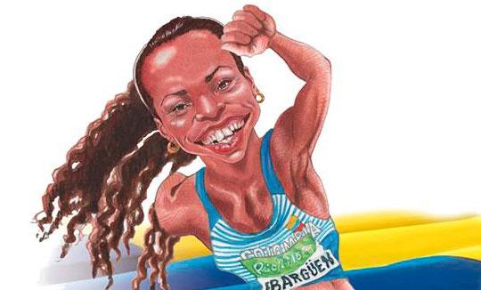 Caricatura de los medallistas de oro colombianos por Jairo A. Alvarez Osorio