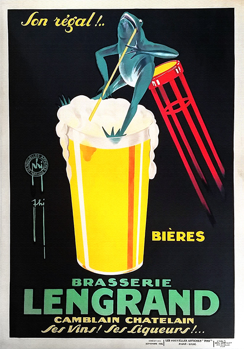 Brasserie Lengrand by G. Piana - Vintage Beer Poster, advertising, classic posters, food, free download, free posters, free printable, graphic design, printables, retro prints, vintage, vintage posters, vintage printables